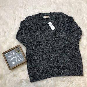 Loft NWT marled Black white sweater size small